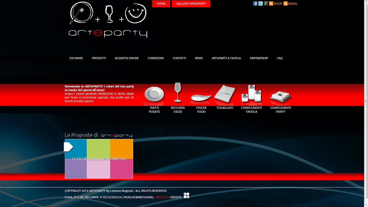 Arteparty sito web website edoardo rognoni design studio for Sito web design piano piano